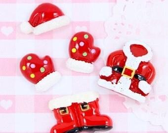 10% OFF SALE 5 x Santa Outfit Father Christmas Flatback Cabochon Embellishment Kawaii Craft