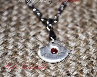 Pendant silver Drop & Garnet