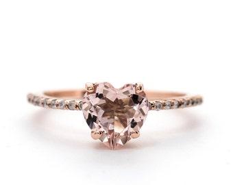1.05 Cts. Heart Morganite Diamond Ring