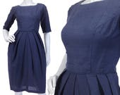 Vintage Clothing - SZ 2XS/XS - Vintage 50s-60s Dress - Jackie O Dress - Navy Blue Dress - Dupioni Silk - Half Sleeves - Silk Dress - Retro
