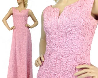 Vintage Prom Dress XS S, Pink Prom Dress, Long Evening Gown, 60s Pink Dress, Sleeveless Prom Dress, 60s Evening Gown, Pink Maxi, SIZE XS S