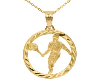 14k Yellow Gold Tennis Necklace