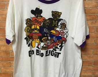 Vintage Rare Champion Bluebar Go Big Eight Ksu Football Nike Sneaker Tshirt