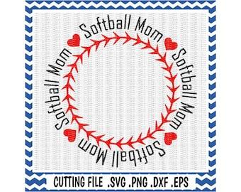 Softball Mom Circle Monogram Frame, Svg-Dxf-Eps-Png-Fcm, Cutting  Files For Silhouette Cameo & Cricut, Softball Svg, Softball Mom Svg.