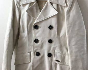 White women's long jacket, from leather, soft leather, with collar, demi-season jacket, stylish jacket, vintage style, from 80', size-small.