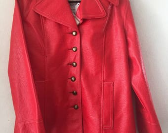 Real spring coat, made from vinyl, steep and stylish coat vintage style mid length modern coat casual style women's red color size- medium.