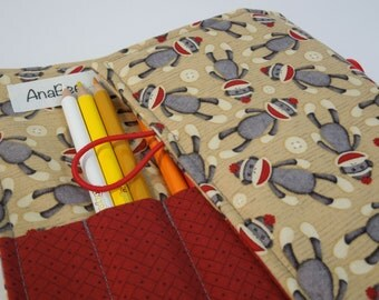 Pencil Roll - Sock Monkey, Colored pencil roll, Pencil case, Pencil organizer, 24 colored pencils
