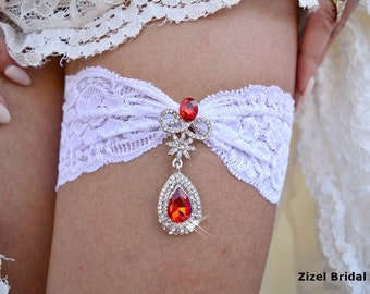 Wedding Garter, White Garter, Bridal Garter Set, Rhinestone Garter, Red Garter, Handmade Garter, Garter Set, White lace Garter, White Garter