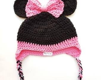 Minnie Mouse Beanie (Crochet/Handmade)