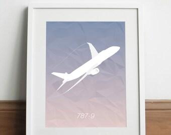 Boeing 787-9 Aircraft - Art print
