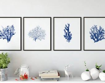 blue coral print, watercolor wall art, sea coral poster, sea life prints, coral print, nautical print, Coastal decor, watercolor painting