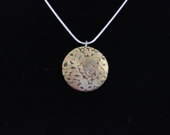 Etched copper pendant with very nice patina. (05212017-008)