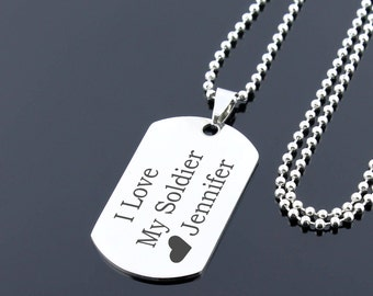 Gift for soldier, custom dog tag necklace, Personalized dog tag pendant, engraved dog tag, mens dog tag, military necklace, military gifts
