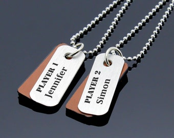 Personalized Couples Necklace, Custom Matching Name Necklace, Men Women Necklace, Couple Jewelry, Couple Gift, His Hers Necklace, Gift Idea