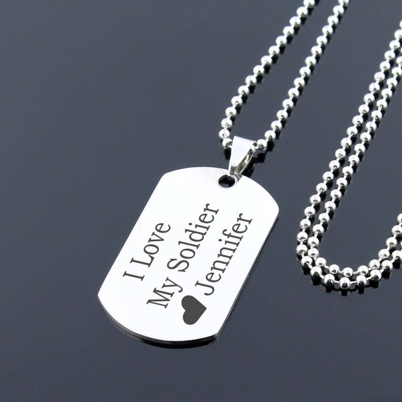 gift for soldier custom dog tag necklace personalized dog. Black Bedroom Furniture Sets. Home Design Ideas