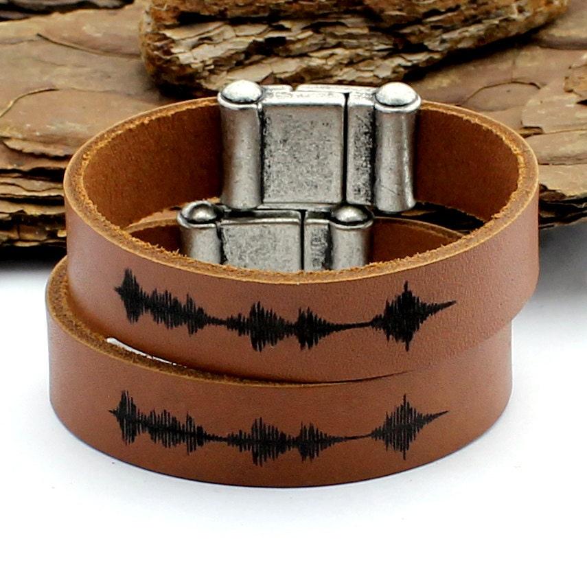 Couple Sound Wave Bracelet Engraved Leather Bracelet