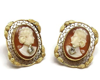 Vintage 14K Yellow Gold and Diamond Cameo Filagree Earrings #89