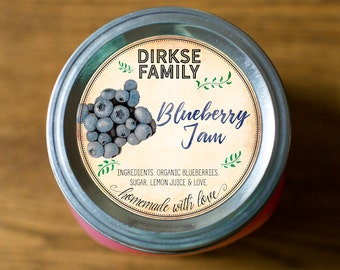 Customized Label - Blueberry Jam, Jelly, Preserves, Canning Jar Label - Wide Mouth & Regular Mouth - Vintage - All Text is Customizable
