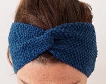 Fine Merino 100% natural for woman or child blue oil 10cm wool turban headband