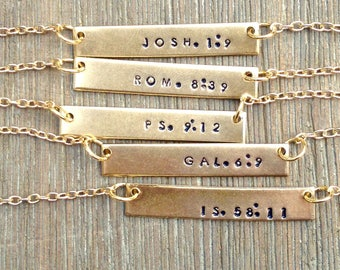 Stamped bar necklace, Bible verse necklace, hand stamped bar necklace, design your own necklace, Gift Under 20, Gift for her, Gift for mom