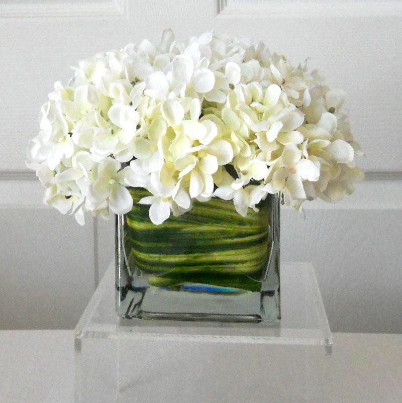 SILK Floral Arrangement-Flower Arrangement-Silk flowers-White hydrangeas  Silk faux arrangement -Fake flowers-White flowers