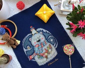 Christmas cross stitch pattern. Polar bear.  Penguin. winter cross stitch pattern.  modern cross stitch pattern. cute funny cross stitch