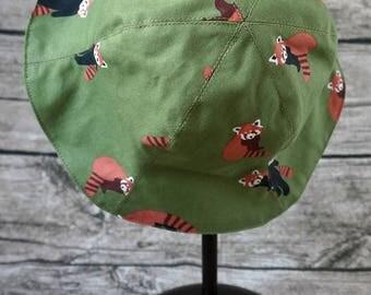 Korea fabric Handmade Reversible Tulip Hat - Firefox Print and Forest