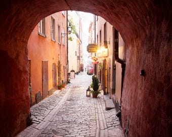 Old Town (Gamla Stan) Stockholm, Alleyway, Sweden Street and Travel Photography - Fine Art Print by Meleah Reardon