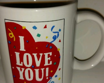 I love You Collectible Coffee Mug with Red Heart and Party Confetti