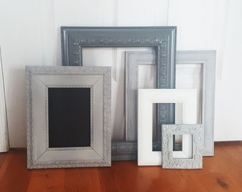 Home decor, Vintage Frames, Set of 5 empty frames, Picture Frames, Wall hanging, Wall decor, Shabby chic,shades of gray color,