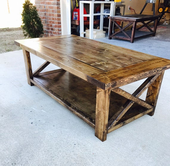 Farmhouse style coffee table rustic living room furniture Farm style coffee tables