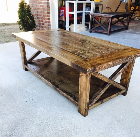Farmhouse Style Coffee Table Rustic Living Room Furniture