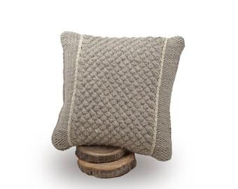Knit pillow, Wool cushion, Knitted cushion, Merino wool cushion, Wool knit pillow, Knitted pillow, White pillow, Roving yarn, Square cushion