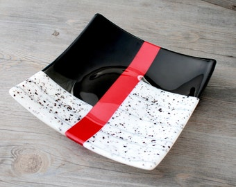 Large Square Black, Red, and White Fused Glass Shallow Bowl; Dish; Serving Ware; Trinket Dish; Fruit Bowl; Hostess Gift
