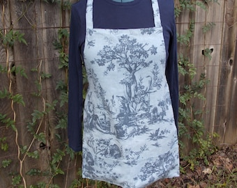 up-cycled linen apron, cafe apron, blue toile