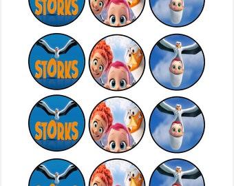 Edible Storks Movie Cupcake Cookie Toppers