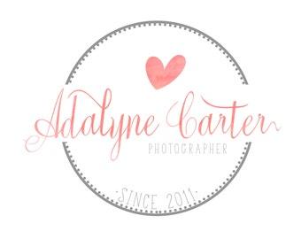 Photography logo, hand written Logo & matching Watermark logo, Romatic elegant logo  - Heart