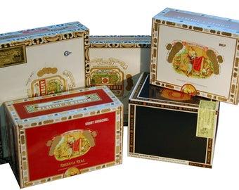 5 Random Empty Paper Cigar Boxes