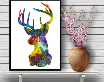 Stag Portait, Animal, Colorful Watercolor, Room Decor, Nature, Home Decoration, Wildlife, gift, print (355)