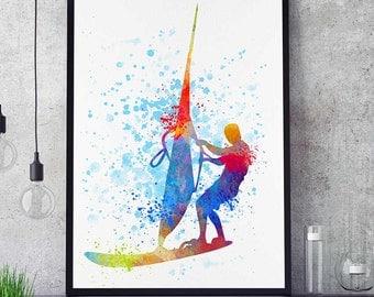 Surf Art, Nautical Decor, Sports Print, Watercolor Prints, Windsurf Wall Art, Home Decor Gift (N061)