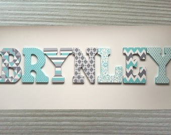 Custom Hand Painted Letters Wooden Wall Hanging Modern Design Chevron Flowers Grey Aqua Mint Gift Baby Child Name Nursery Girl - BRYNLEY
