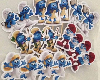 Smurfs Cupcake Toppers with Stick Topper with stick Set of 18 Custom Made
