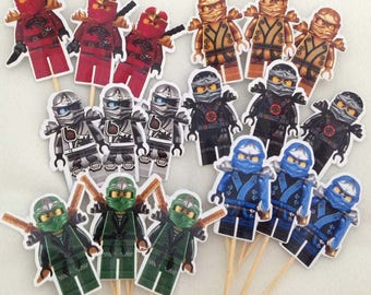 Lego Ninjago Cupcake Toppers Topper with stick Set of 18 Custom Made