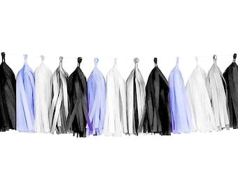 Lavender + Gray + Black + White | Tassel Garland | Tissue Tassel Garland | FOLI + LO