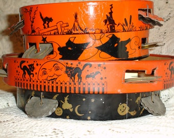 Lot of 5 Vintage Halloween Tambourine Tin Toy Noisemakers