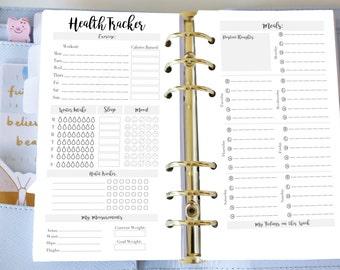 Personal Health Planner - Printable Weekly Health Tracker - Organiser Planner Inserts - Filofax Personal or Kikki K Medium