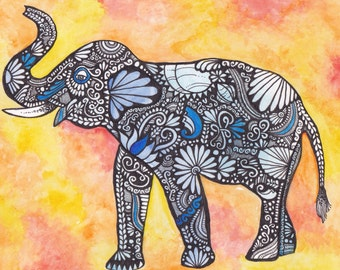 Fine Art Intricate Detailed Watercolour Painting - Elephant PRINT, Watercolour and Ink, Home Decoration, Animal Art, Illustration, Elephant