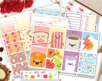 The Breakfast Club Planner Sticker Kit | Breakfast Weekly Stickers | Weekly Kit | EC Vertical Kit | Breakfast Stickers