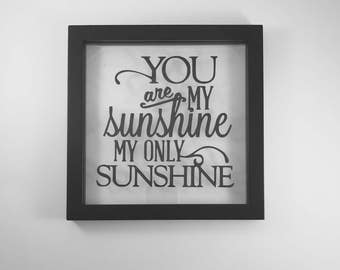 You are my sunshine, personalized picture frame, sunshine decor, nursery decor, bedroom sign, gift for child, remembrance gifts, wall sign