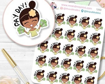 Payday Dark Skin planner sticker payday reminder sticker payday amount planner sticker payday schedule planner sticker payday date | 125D